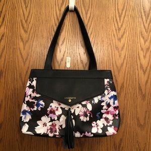Liz Claiborne Black Flowered Handbag-Nwot